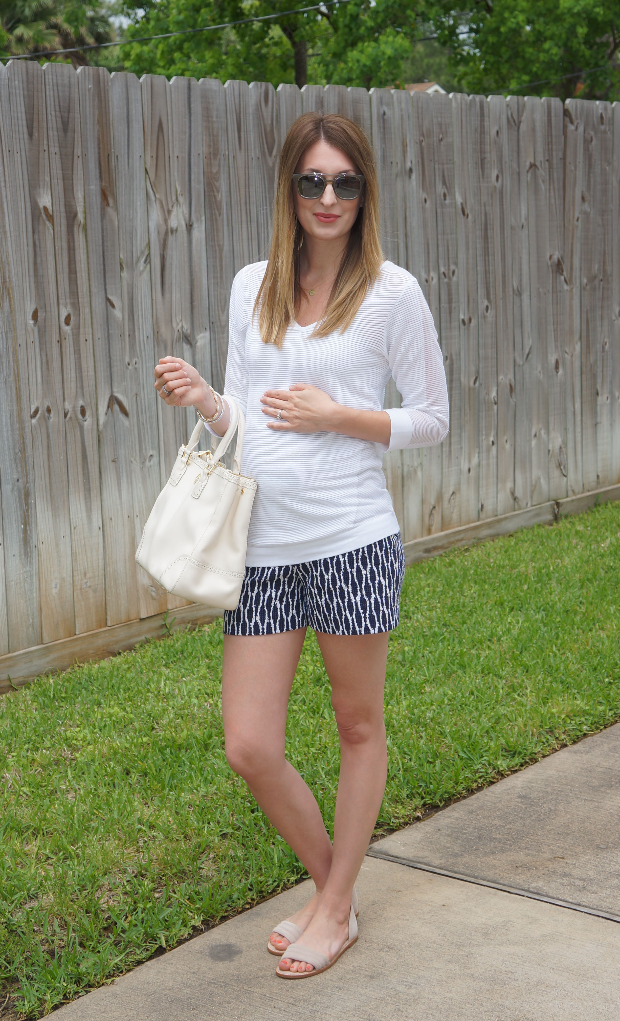 loft maternity. sweater: a pea in the pod (loving this non-maternity sweater too) / shorts: loft maternity (same shorts regular sizes here) sandals: j.crew bag: tory