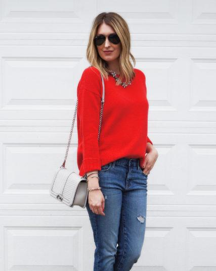 Red Sweater   Boyfriend Jeans… | Wear & When