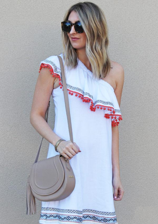 Pom One Shoulder Dress…