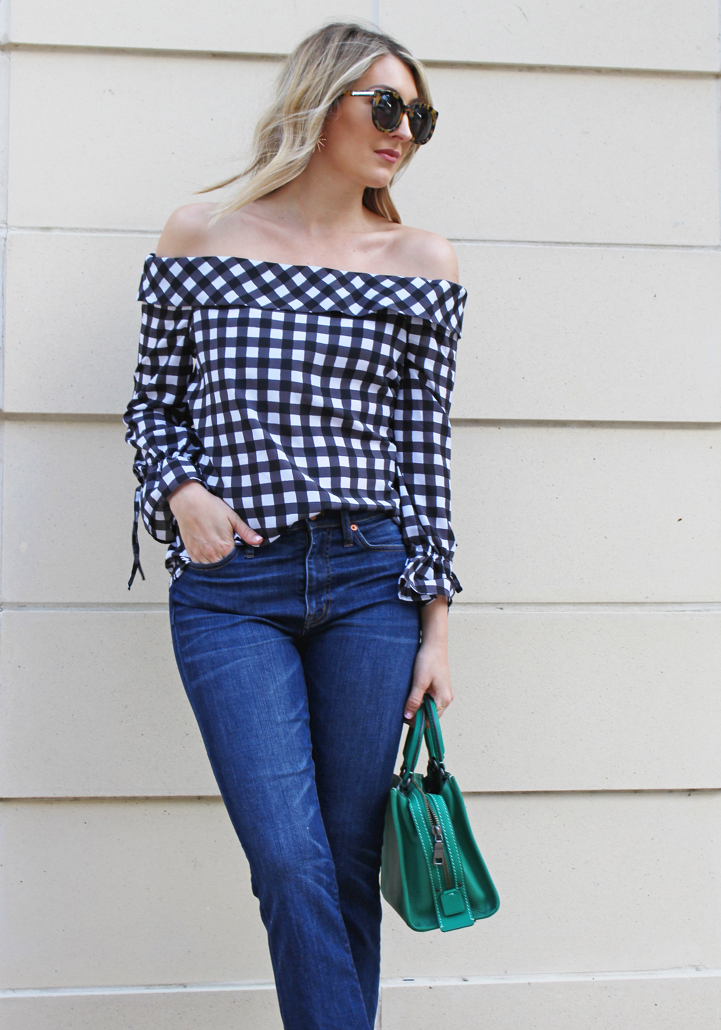 c0a512beea3bf9 Gingham Off the Shoulder Top…