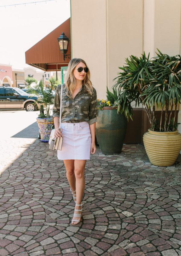 Camo + White Denim Skirt…