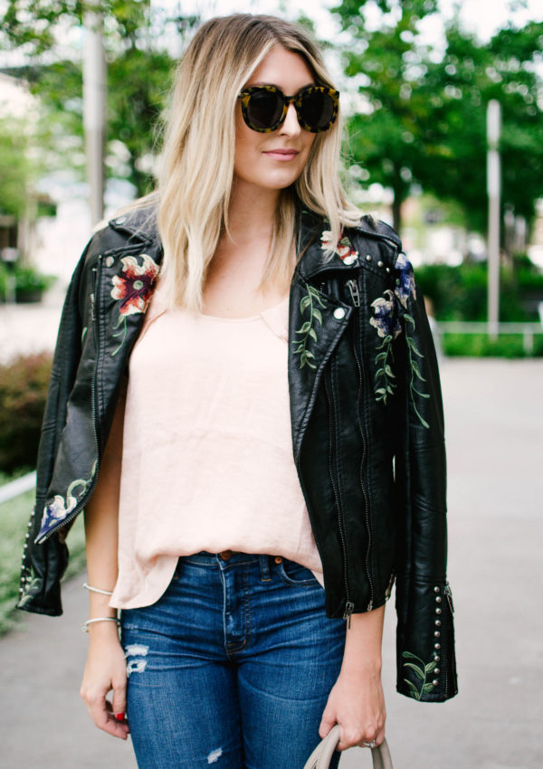 Embroidered Faux Leather Jacket…