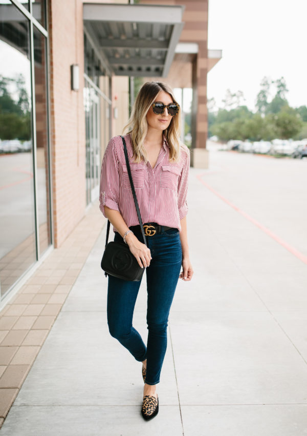 Striped Utility Blouse…