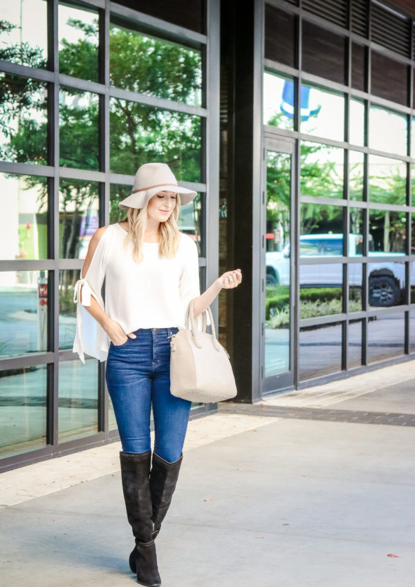 Cold Shoulder Tie Sleeve Top…