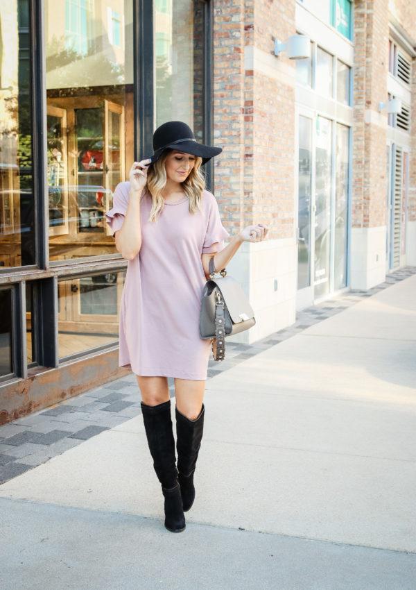 Blush Ruffle Sleeve Dress…