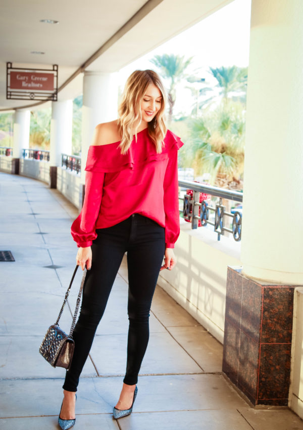 Red Off the Shoulder Ruffle Top…
