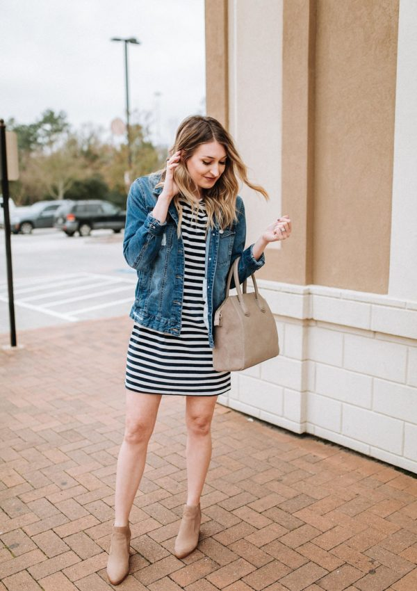 Striped Velour T-Shirt Dress…
