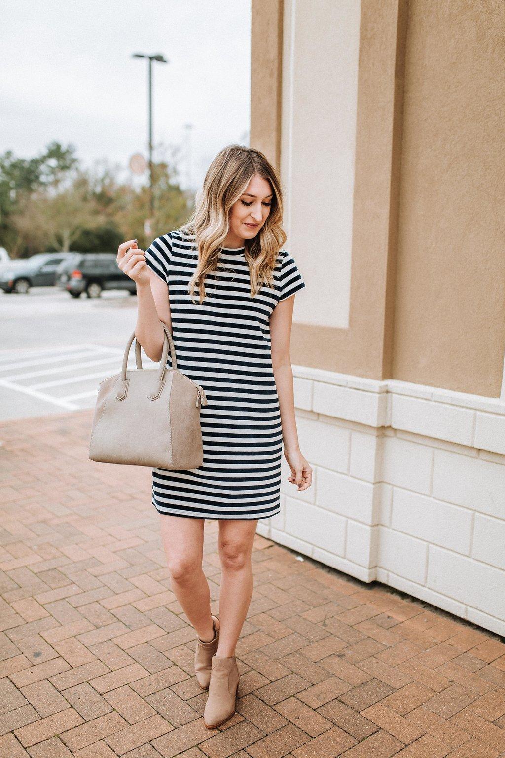 79365d0a2c535 Striped Velour T-Shirt Dress…