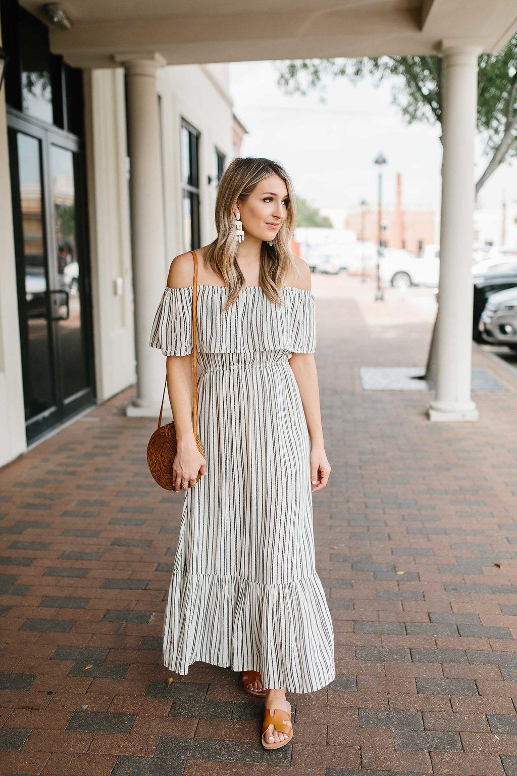 ca1883fb997c Striped Off the Shoulder Maxi Dress…
