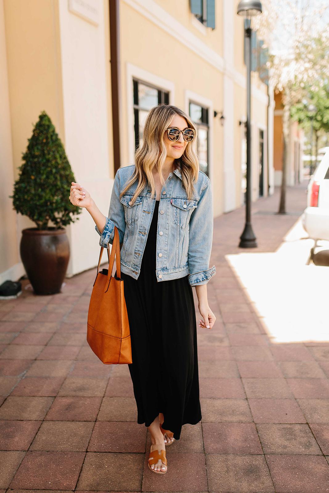 Black Maxi Dress with Denim Jacket… | Wear & When