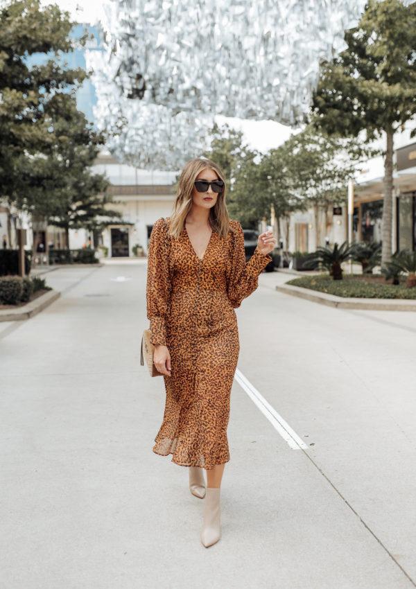 Leopard Print Midi Dress…